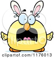 Cartoon Of A Screaming Easter Chick With Bunny Ears Royalty Free Vector Clipart by Cory Thoman