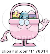 Cartoon Of A Waving Easter Basket Mascot Royalty Free Vector Clipart by Cory Thoman
