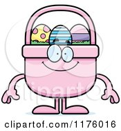 Cartoon Of A Happy Easter Basket Mascot Royalty Free Vector Clipart