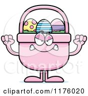 Cartoon Of A Mad Easter Basket Mascot Royalty Free Vector Clipart