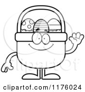 Cartoon Of A Black And White Waving Easter Basket Mascot Royalty Free Vector Clipart