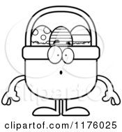 Cartoon Of A Black And White Surprised Easter Basket Mascot Royalty Free Vector Clipart