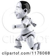 Clipart Of A 3d Baby Robot Running Royalty Free CGI Illustration