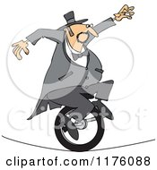 Cartoon Of A Circus Man Riding A Unicycle On A Tight Rope Royalty Free Vector Clipart by djart