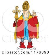 Cartoon Of A Pope Wearing Sneakers Royalty Free Vector Clipart