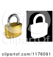 Clipart Of A 3d Locked Gold Padlock With Alpha Mask Royalty Free CGI Illustration