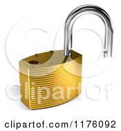 Clipart Of A 3d Open Unlocked Padlock Royalty Free CGI Illustration by stockillustrations