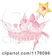 Cartoon Of A Magic Wand And Pink Princess Crown Royalty Free Vector Clipart by Pushkin