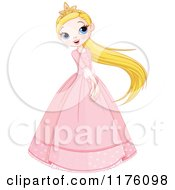 Cartoon Of A Happy Princess Swinging Her Long Blond Hair And Holding Her Hands In Front Royalty Free Vector Clipart by Pushkin