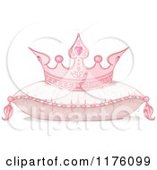 Cartoon Of A Pink Princess Crown Resting On A Flully Pillow Royalty Free Vector Clipart by Pushkin