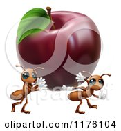Cartoon Of Worker Ants Carrying Away A Red Apple Royalty Free Vector Clipart by AtStockIllustration