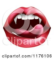 Female Mouth With A Tongue Licking Vampire Fangs