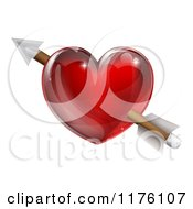 Clipart Of A Reflective Red Heart With Cupids Arrow Royalty Free Vector Illustration by AtStockIllustration