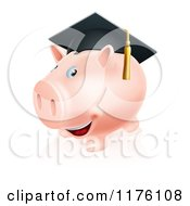 Cartoon Of A Happy Piggy Bank Wearing A Graduation Cap Royalty Free Vector Clipart