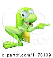 Cartoon Of A Happy Green Frog Pointing To A Sign Royalty Free Vector Clipart by AtStockIllustration