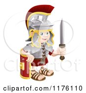 Cartoon Of A Happy Roman Soldier Holding A Knife And Shield Royalty Free Vector Clipart