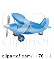Cartoon Of A Flying Blue Airplane Royalty Free Vector Clipart
