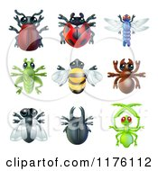 Cartoon Of Cute Beetles And Other Bugs Royalty Free Vector Clipart