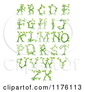 Clipart Of Green Vine Alphabet Letters A Through Z Royalty Free Vector Illustration