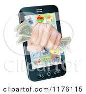 Clipart Of A Fist With Cash Emerging From A Smart Phone Royalty Free Vector Illustration
