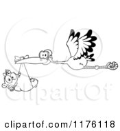 Cartoon Of A Black And White Stork Flying A Baby Girl In A Bundle Royalty Free Vector Clipart