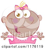 Cartoon Of A Happy Black Baby Girl With Open Arms Royalty Free Vector Clipart by Hit Toon
