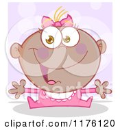 Cartoon Of A Happy Black Baby Girl With Open Arms Over Purple Royalty Free Vector Clipart by Hit Toon