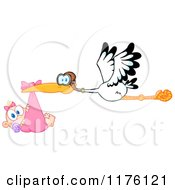 Cartoon Of A Stork Flying A Baby Girl In A Pink Bundle Royalty Free Vector Clipart