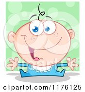 Cartoon Of A Happy White Baby Boy With Open Arms Over Green Royalty Free Vector Clipart by Hit Toon