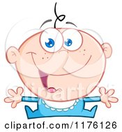 Cartoon Of A Happy Caucasian Baby Boy With Open Arms Royalty Free Vector Clipart by Hit Toon