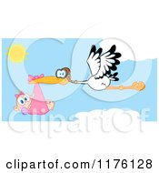 Cartoon Of A Stork Flying A Baby Girl Against A Cloudy Sky Royalty Free Vector Clipart