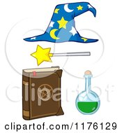 Cartoon Of A Magic Book Flask Magic Wand And Wizard Hat Royalty Free Vector Clipart by Hit Toon