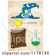 Cartoon Of A Magic Book Flask Magic Wand And Wizard Hat Over Water Stained Paper Royalty Free Vector Clipart by Hit Toon