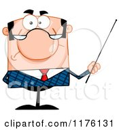Grumpy Caucasian Businessman Holding A Pointer Stick