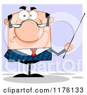 Cartoon Of A Grumpy White Businessman Holding A Pointer Stick Over Purple Royalty Free Vector Clipart