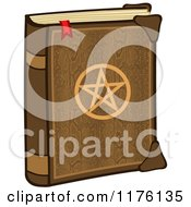 Cartoon Of A Magic Spell Book With A Pentagram On The Cover Royalty Free Vector Clipart