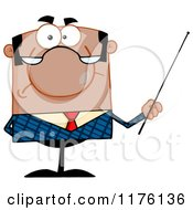 Cartoon Of A Grumpy Black Businessman Holding A Pointer Stick Royalty Free Vector Clipart by Hit Toon