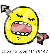 Cartoon Of A Yellow Emoticon With An Arrow Through Its Head Royalty Free Vector Illustration by lineartestpilot