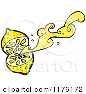Cartoon Of A Lemon Squirting Its Juice Royalty Free Vector Illustration