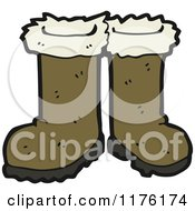 Cartoon Of A Pair Of Brown Boots Royalty Free Vector Illustration by lineartestpilot