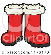 Cartoon Of A Pair Of Red Boots Royalty Free Vector Illustration by lineartestpilot