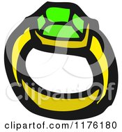 Cartoon Of An Emerald Ring Royalty Free Vector Illustration by lineartestpilot
