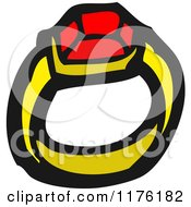 Cartoon Of A Gold Ruby Ring Royalty Free Vector Illustration by lineartestpilot