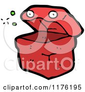 Cartoon Of An Open Red Box Or Container Royalty Free Vector Illustration