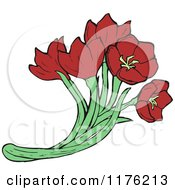 Cartoon Of A Bunch Of Red Poppies Royalty Free Vector Illustration by lineartestpilot