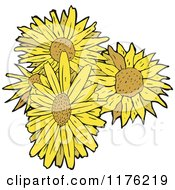 Cartoon Of A Bunch Of Sunflowers Royalty Free Vector Illustration