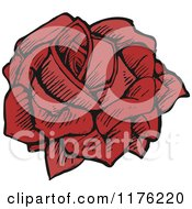 Cartoon Of A Red Rose Royalty Free Vector Illustration by lineartestpilot