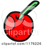 Cartoon Of A Cherry With A Stem Royalty Free Vector Illustration