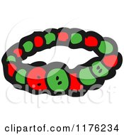 Cartoon Of A Red And Green Bracelet Royalty Free Vector Illustration by lineartestpilot