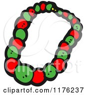 Cartoon Of A Red And Green Necklace Royalty Free Vector Illustration by lineartestpilot